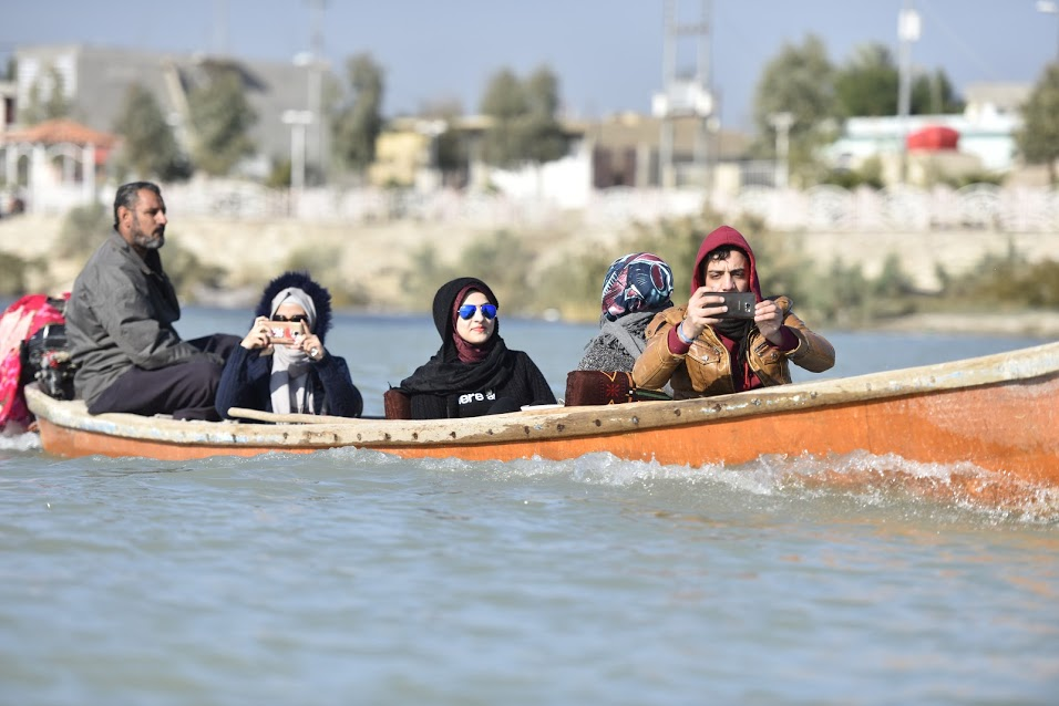 Youth activists camp in the Iraqi Marshes