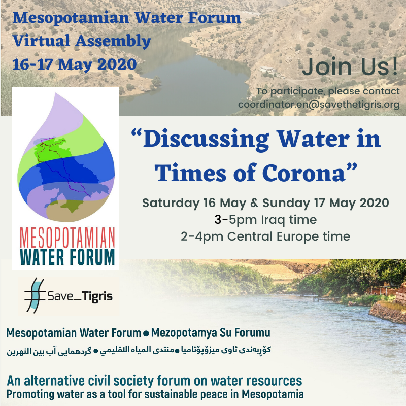 "Mesopotamian Water Forum Virtual Assembly: ""Discussing Water in Times of Corona"" – Join Us!"
